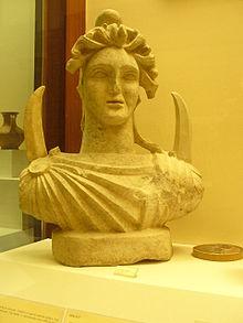 Busto del dio Men, conservato presso il Museo delle civiltà anatoliche, ad Ankara.