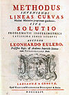 """העמוד הראשי של ספרו של אוילר: """"Methodus inveniendi lineas curvas"""""""