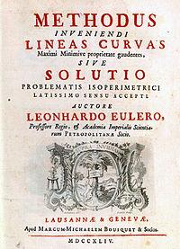 The cover page of Euler's Methodus inveniendi lineas curvas.