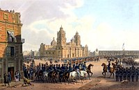 American mounted cavalry and soldiers parade in Mexico city during the occupation