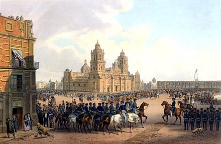 U.S. Army occupation of Mexico City in 1847. The American flag is flying over the National Palace, the seat of the Mexican government. Mexico nebel.jpg