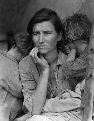 White trash - Dorothea Lange's 1936 photograph of Florence Thompson, a migrant worker in California during the Great Depression, along with two of her children. The photo is known as Migrant Mother.