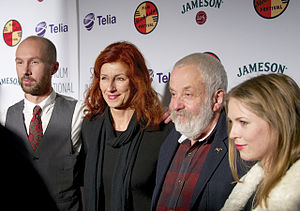 Stockholm International Film Festival - Mike Leigh at Stockholm International Film Festival in Nov 2014, together with actor Olle Sarri, festival director Git Scheynius and Swedish actress Alexandra Dahlström