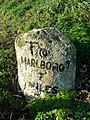 Milestone on A4 at Froxfield, Wiltshire - closeup - geograph.org.uk - 294243.jpg