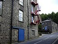 Mill Fire Escape. Wales Road. Waterfoot - geograph.org.uk - 503907.jpg