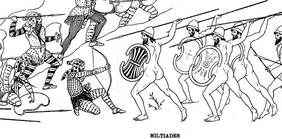Miltiades fighting the Persians at the Battle of Marathon in the Stoa Poikile (reconstitution)