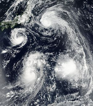 2016 Pacific typhoon season - A trio of storms southeast of Japan on August 20; Lionrock (left), Mindulle (bottom-left) and Kompasu (top)