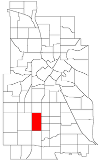 Location of King Field within the U.S. city of Minneapolis
