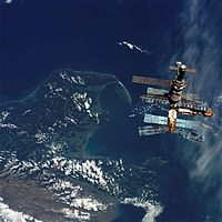 Mir is seen orbiting about 350 kilometres above New Zealand.