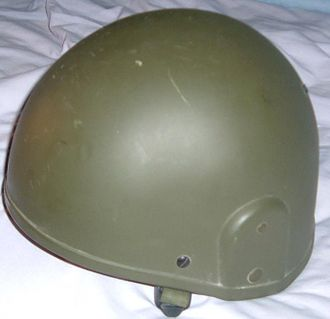 Mk 6 helmet - A Mk 6 helmet, displaying the ballistic nylon surface without camouflage DPM cover.