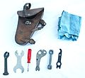 Model 1905 Swiss military bicycle - repair kit - open (15086035774).jpg