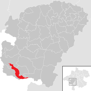 Location of the municipality of Mondsee in the Vöcklabruck district (clickable map)