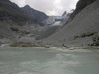 Mont Miné Glacier - The glacier terminus near Ferpècle