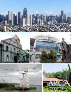 (Mula sa taas, kaliwa-pakanan): Bonifacio Global City, Archdiocesan Shrine of Saint Anne, Gusaling Panlungsod ng Taguig, Napindan Parola, Arca South