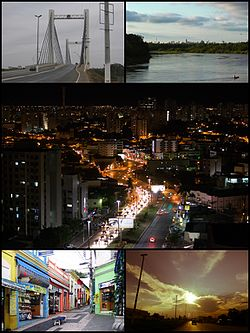 Above, on the left, Sérgio Mota Bridge; to the right the Cuiabá River; in the middle, night view of the city; below, to the left Cândido Mariano Street; next to it, there is evening in the city.