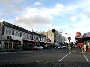 Morningside shops, as seen from the corner of New North Road and Morningside Drive.