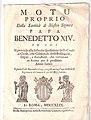 Motu Proprio Della Santità di Nostro Signore Pope Benedictus XIV.jpg