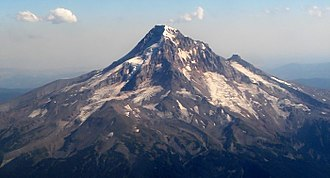 Mount Hood climbing accidents - Aerial view of Mount Hood's rugged north side.