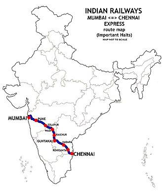 Mumbai–Chennai line - Mumbai-Chennai  route map