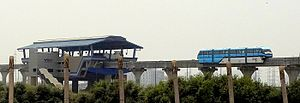 Public transport in Mumbai - Monorail departure from station