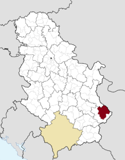 Location of the city of Pirot within Serbia