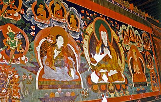 Atiśa - Mural of Atiśa at Ralung Monastery, 1993.