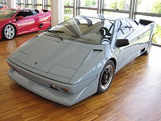 Lamborghini Diablo - The Lamborghini P132 prototype designed by Marcello Gandini on display at the Lamborghini museum, a design which would later be carried out to the Cizeta V16T