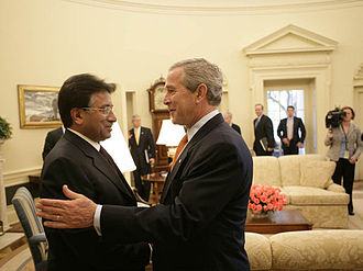 Pervez Musharraf - President Musharraf is greeted by President Bush in Washington in September 2006.