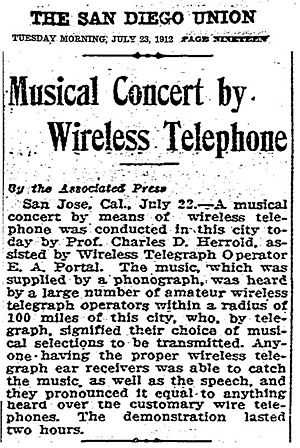 Charles Herrold - Image: Musical Concert by Wireless Telephone 23JUL1912