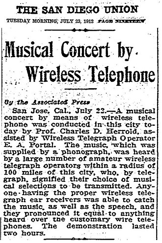 KCBS (AM) - Image: Musical Concert by Wireless Telephone 23JUL1912