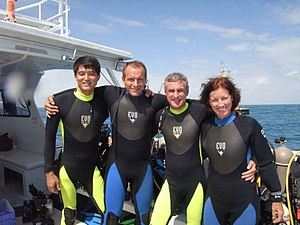 Shannon Walker - The NEEMO 15 Crew: Left to right: Takuya Onishi, David Saint-Jacques, Steve Squyres, Walker.