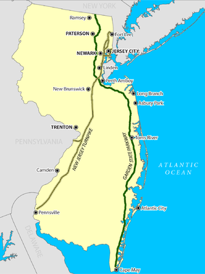 Map of New Jersey Turnpike and Garden State Parkway