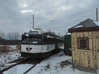 Newark Light Rail - The former PCC railcar No. 7 from the subway located on the property of the New York Museum of Transportation
