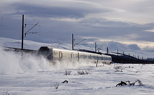 Timeline of railway electrification in Norway - Class 73 train near Dombås on the Dovre Line