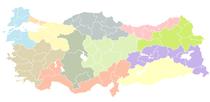 NUTS statistical regions of Turkey - NUTS of Turkey on first level