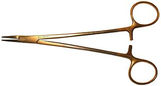 Needle holder - A Mayo-Hegar needle holder.
