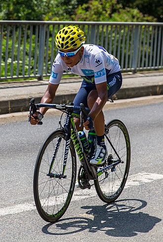 Nairo Quintana - Quintana wearing the white jersey at the 2015 Tour de France