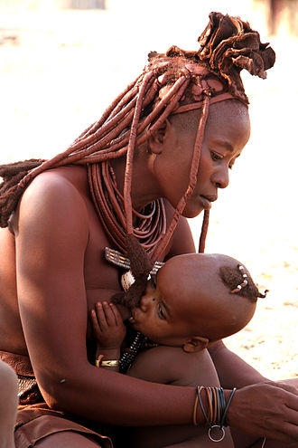 Breastfeeding - Himba woman and child
