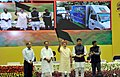 Narendra Modi flagging off the Kisan Rath at the launching ceremony of DD Kisan Channel, in New Delhi. The Union Minister for Agriculture, Shri Radha Mohan Singh, the Minister of State for Information & Broadcasting.jpg
