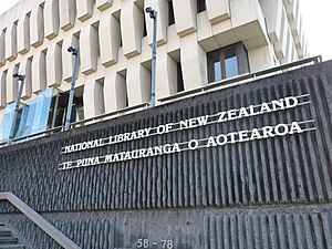 Aotearoa - A bilingual sign outside the National Library of New Zealand uses Aotearoa alongside New Zealand.