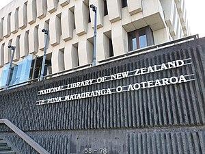 Aotearoa - A bilingual sign outside the National Library of New Zealand uses Aotearoa alongside New Zealand.