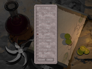 Character creation - Class selection screen in Falcon's Eye.