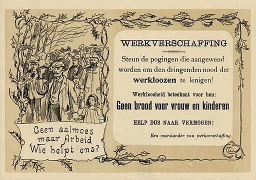 Netherlands, leaflet for the promotion of unemployment relief, 1907