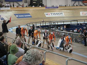 Levi Heimans - Levi Heimans in the team pursuit at the 2007-08 Track Cycling World Cup in Los Angeles