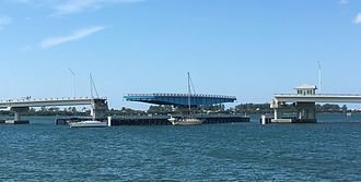 Boca Grande Causeway - Boca Grande Swing Bridge open for vessel traffic