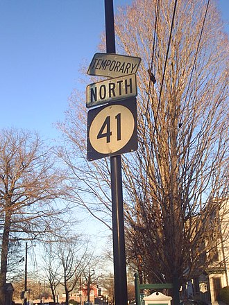 Special route - Route 41 Temporary signage in Haddonfield, New Jersey