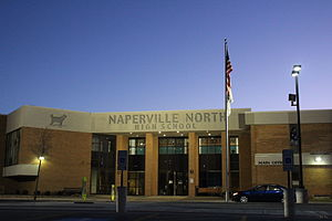 Naperville North High School - Image: New Naperville North Main Entrance at Dusk