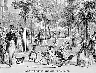 Lafayette Square (New Orleans) - Image: New Orleans, La Fayette Square, Ballou 1854