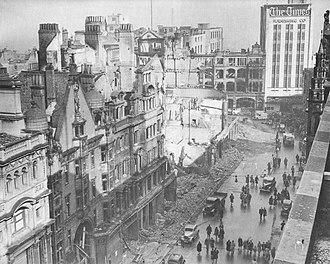 Birmingham Blitz - New Street after bombing