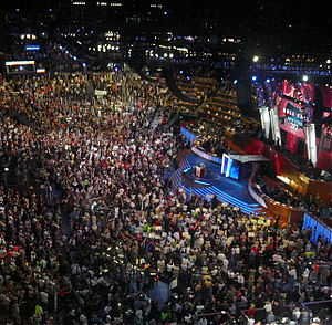 New York Democratic primary, 2008 - New York is announced as part of the roll call of the states during the third day of the 2008 Democratic National Convention in Denver, Colorado. New Mexico had yielded to Illinois, which in turn yielded to New York so that Senator Hillary Clinton could make a motion promoting party unity.